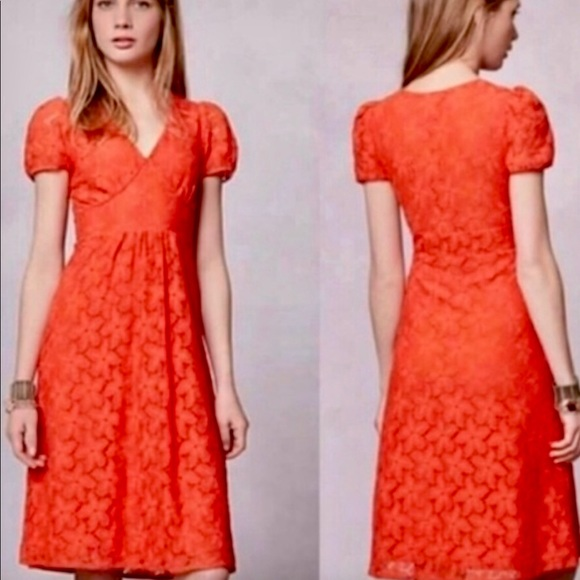 Anthropologie Dresses & Skirts - Anthropologie Leifnotes Orange/Red dress XL